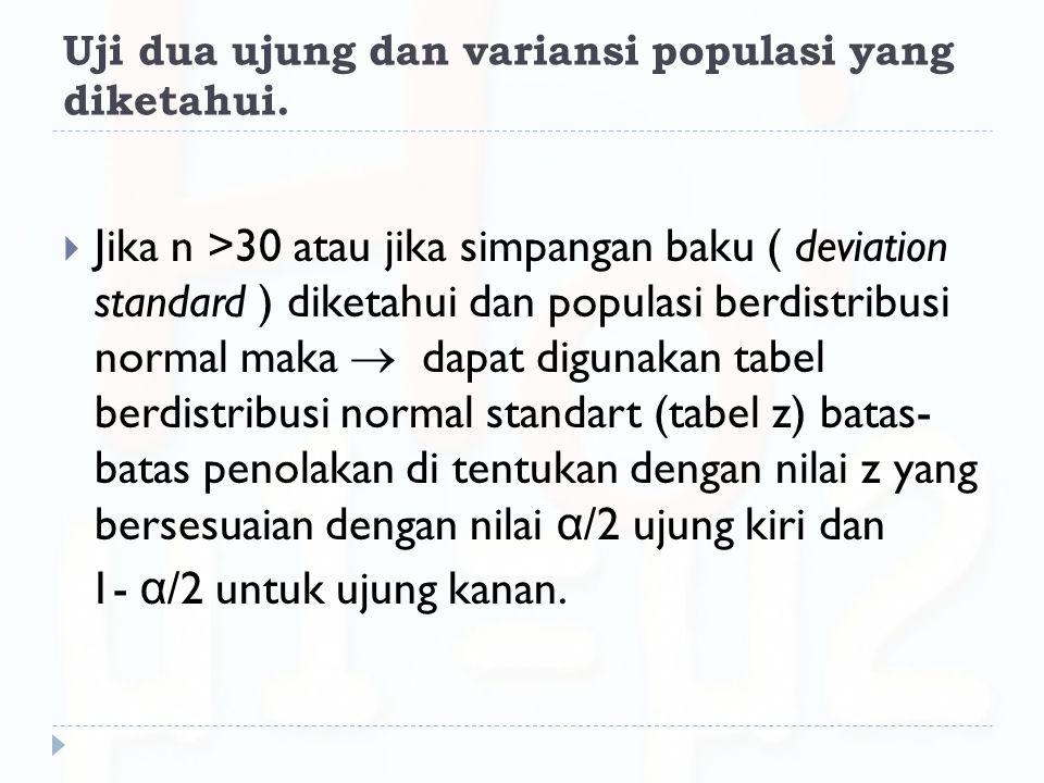 Uji dua ujung dan variansi populasi yang diketahui.  Jika n >30 atau jika simpangan baku ( deviation standard ) diketahui dan populasi berdistribusi