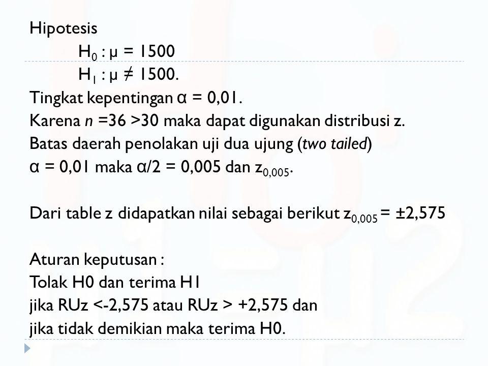 Hipotesis H 0 : µ = 1500 H 1 : µ ≠ 1500. Tingkat kepentingan α = 0,01. Karena n =36 >30 maka dapat digunakan distribusi z. Batas daerah penolakan uji