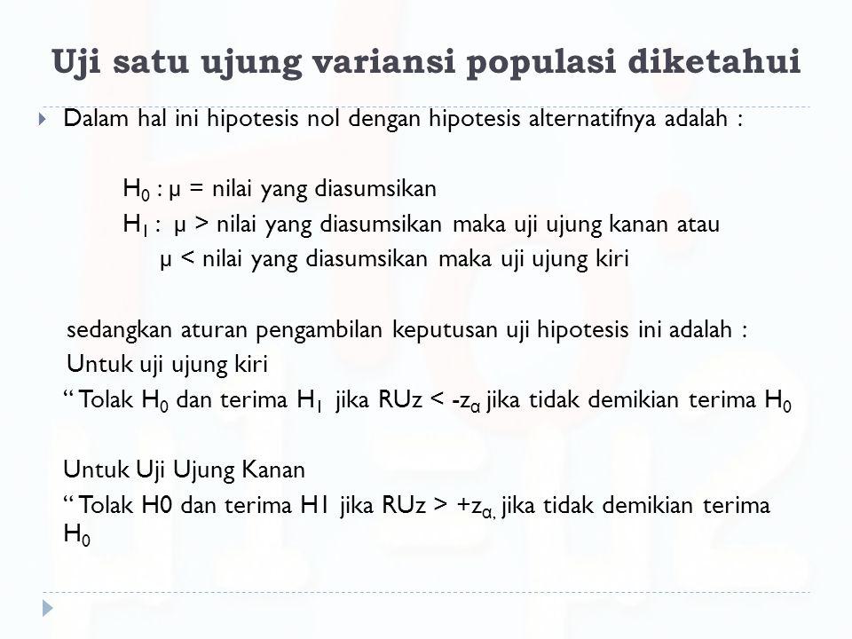 Uji satu ujung variansi populasi diketahui  Dalam hal ini hipotesis nol dengan hipotesis alternatifnya adalah : H 0 : µ = nilai yang diasumsikan H 1