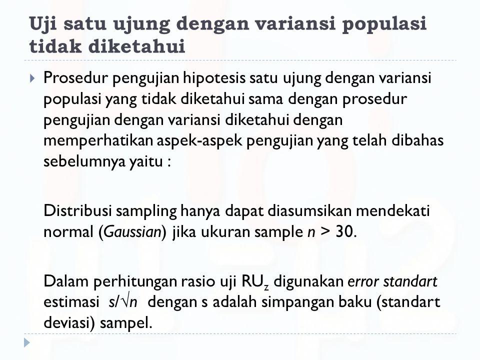 Uji satu ujung dengan variansi populasi tidak diketahui  Prosedur pengujian hipotesis satu ujung dengan variansi populasi yang tidak diketahui sama d