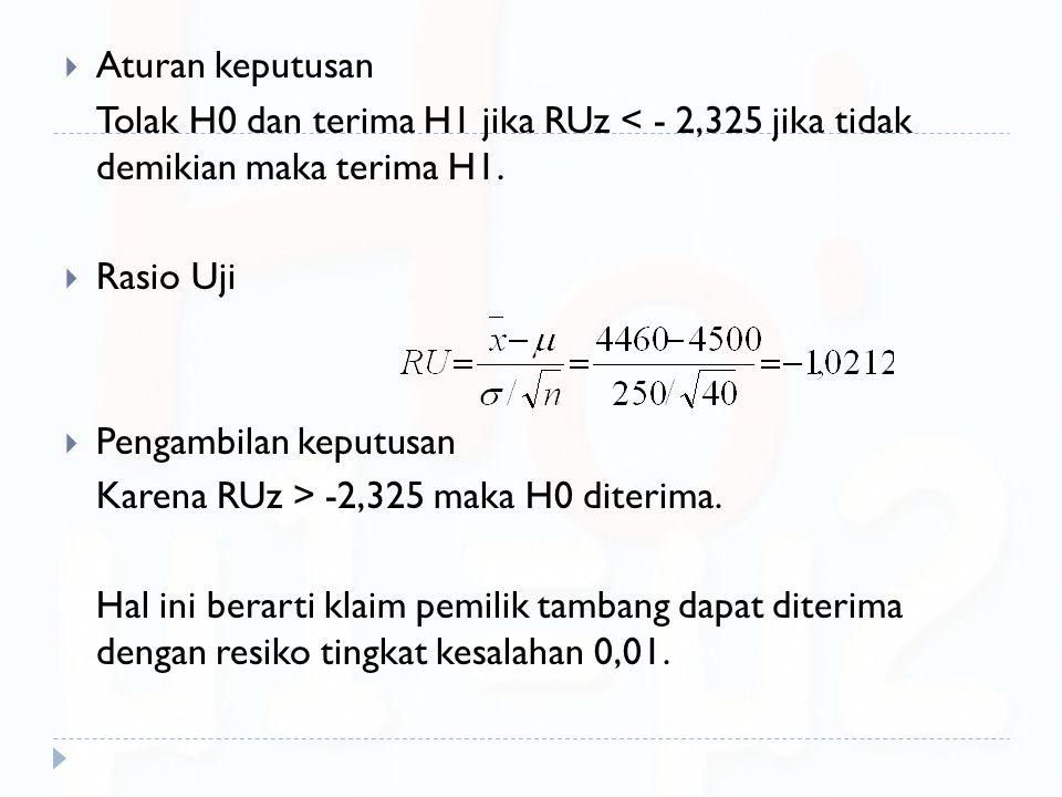  Aturan keputusan Tolak H0 dan terima H1 jika RUz < - 2,325 jika tidak demikian maka terima H1.  Rasio Uji  Pengambilan keputusan Karena RUz > -2,3