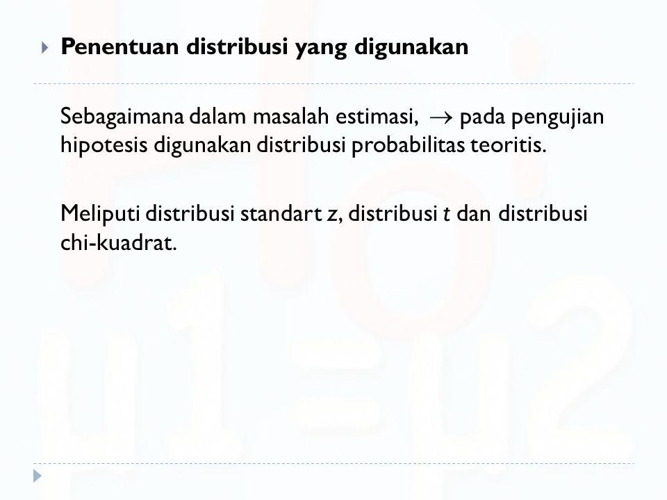  Penentuan distribusi yang digunakan Sebagaimana dalam masalah estimasi,  pada pengujian hipotesis digunakan distribusi probabilitas teoritis. Melip