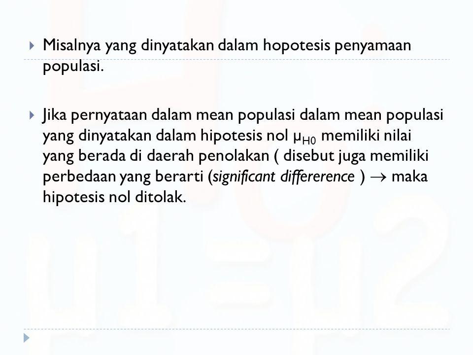  Misalnya yang dinyatakan dalam hopotesis penyamaan populasi.  Jika pernyataan dalam mean populasi dalam mean populasi yang dinyatakan dalam hipotes
