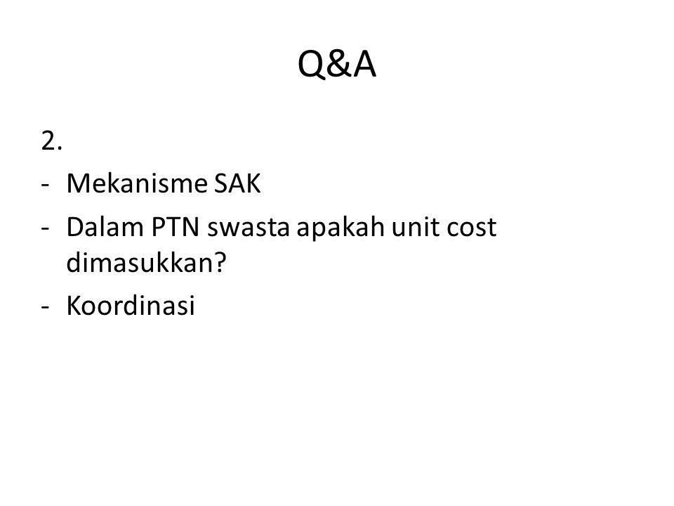 Q&A 2. -Mekanisme SAK -Dalam PTN swasta apakah unit cost dimasukkan? -Koordinasi