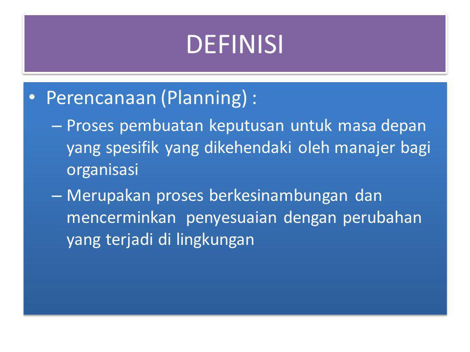 DEFINISI Perencanaan (Planning) : – Proses pembuatan keputusan untuk masa depan yang spesifik yang dikehendaki oleh manajer bagi organisasi – Merupaka