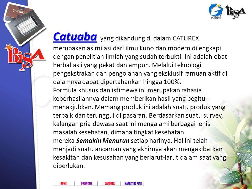 Catuaba Catuaba Catuaba yang dikandung di dalam CATUREX merupakan asimilasi dari ilmu kuno dan modern dilengkapi dengan penelitian ilmiah yang sudah t