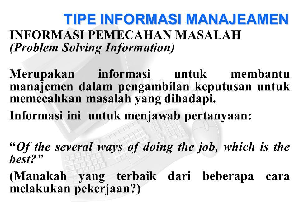 INFORMASI PEMECAHAN MASALAH (Problem Solving Information) Merupakan informasi untuk membantu manajemen dalam pengambilan keputusan untuk memecahkan masalah yang dihadapi.