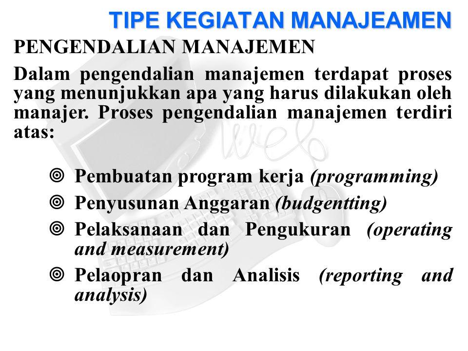PENGENDALIAN MANAJEMEN Dalam pengendalian manajemen terdapat proses yang menunjukkan apa yang harus dilakukan oleh manajer.