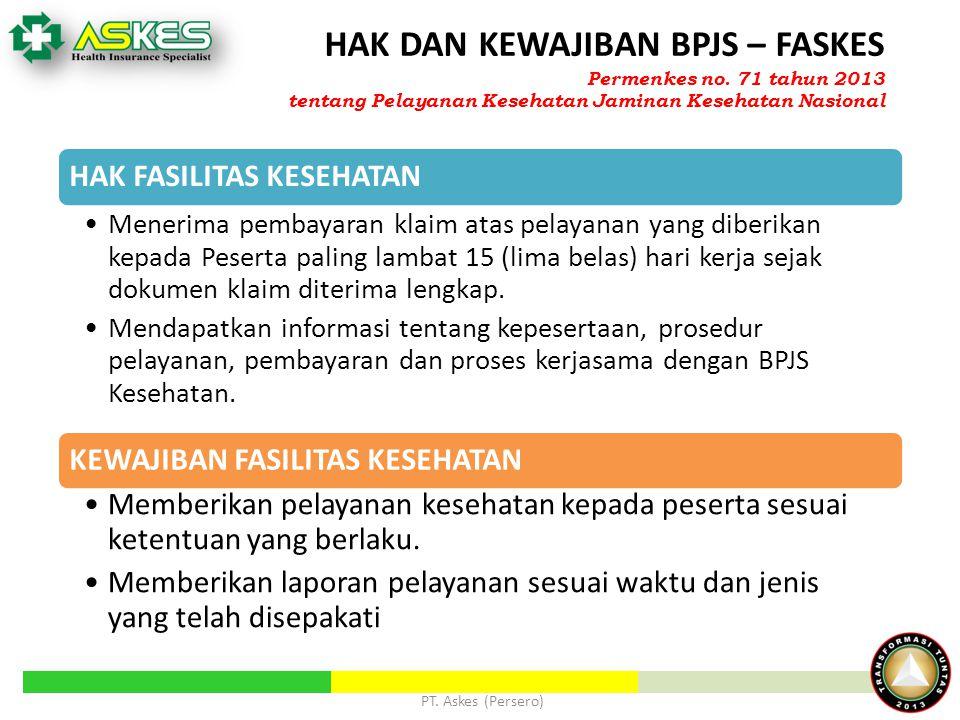 PT. Askes (Persero) HAK DAN KEWAJIBAN BPJS – FASKES HAK FASILITAS KESEHATAN Menerima pembayaran klaim atas pelayanan yang diberikan kepada Peserta pal