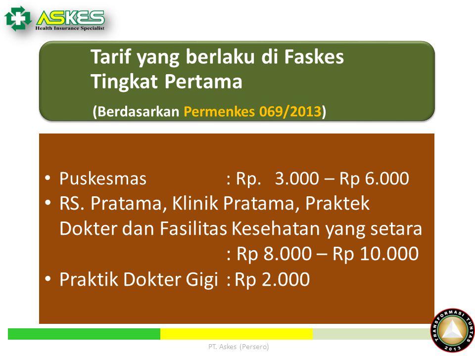 Tarif yang berlaku di Faskes Tingkat Pertama (Berdasarkan Permenkes 069/2013) Puskesmas : Rp. 3.000 – Rp 6.000 RS. Pratama, Klinik Pratama, Praktek Do