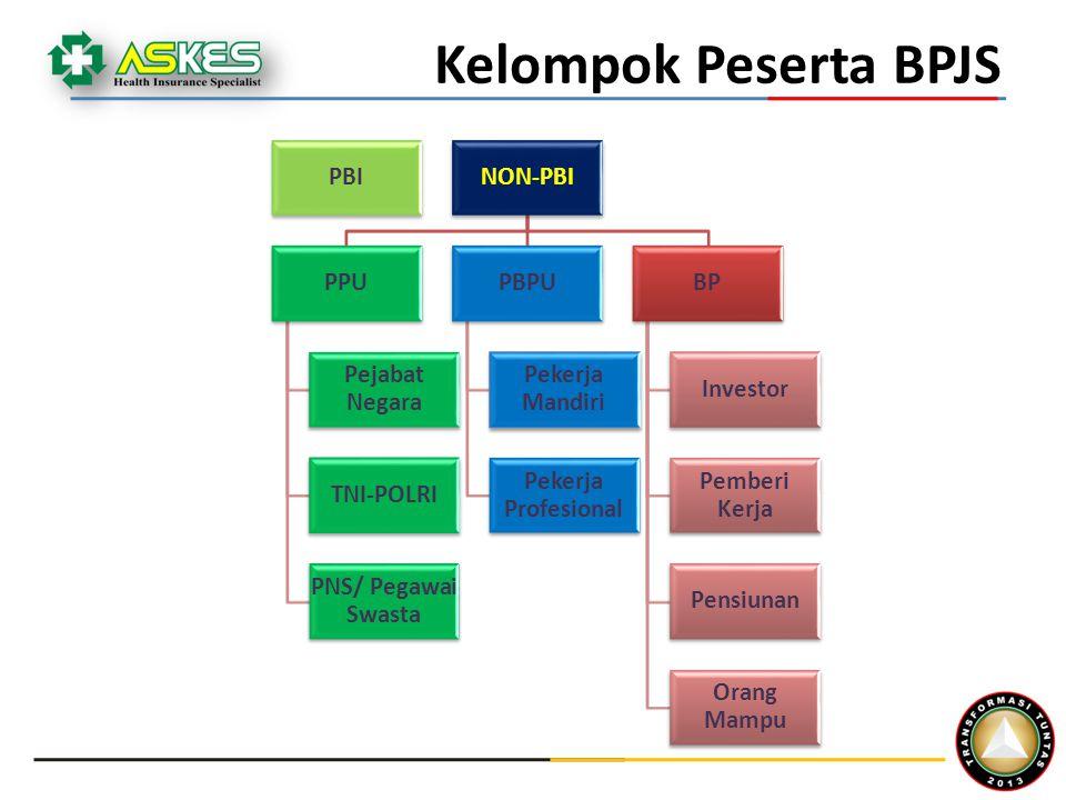 PBINON-PBI PPU Pejabat Negara TNI-POLRI PNS/ Pegawai Swasta PBPU Pekerja Mandiri Pekerja Profesional BP Investor Pemberi Kerja Pensiunan Orang Mampu Kelompok Peserta BPJS