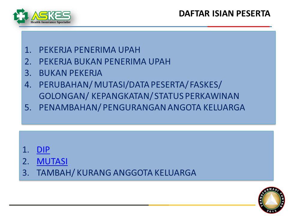 1.PEKERJA PENERIMA UPAH 2.PEKERJA BUKAN PENERIMA UPAH 3.BUKAN PEKERJA 4.PERUBAHAN/ MUTASI/DATA PESERTA/ FASKES/ GOLONGAN/ KEPANGKATAN/ STATUS PERKAWINAN 5.PENAMBAHAN/ PENGURANGAN ANGOTA KELUARGA 1.PEKERJA PENERIMA UPAH 2.PEKERJA BUKAN PENERIMA UPAH 3.BUKAN PEKERJA 4.PERUBAHAN/ MUTASI/DATA PESERTA/ FASKES/ GOLONGAN/ KEPANGKATAN/ STATUS PERKAWINAN 5.PENAMBAHAN/ PENGURANGAN ANGOTA KELUARGA DAFTAR ISIAN PESERTA 1.DIPDIP 2.MUTASIMUTASI 3.TAMBAH/ KURANG ANGGOTA KELUARGA 1.DIPDIP 2.MUTASIMUTASI 3.TAMBAH/ KURANG ANGGOTA KELUARGA