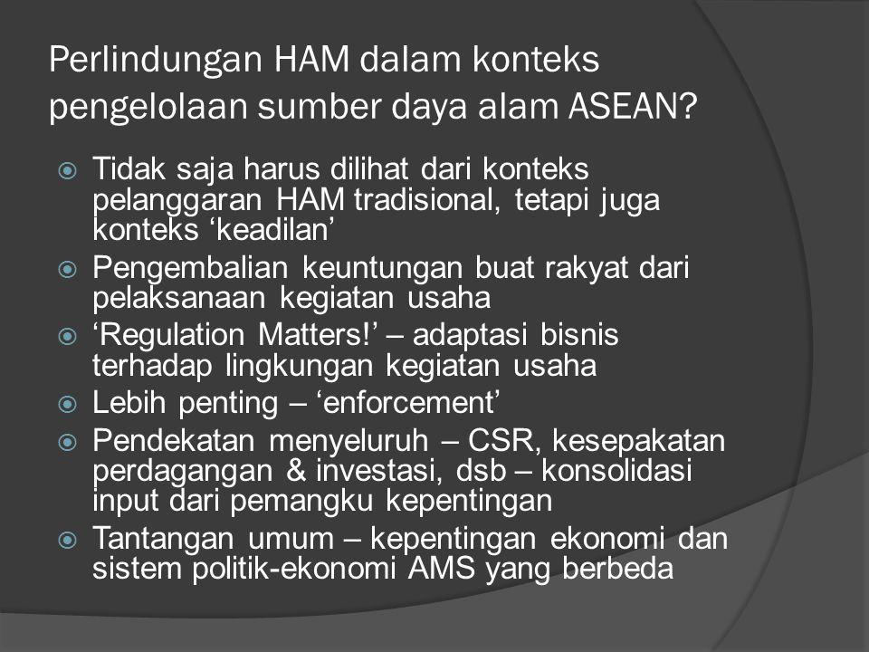 Perlindungan HAM dalam konteks pengelolaan sumber daya alam ASEAN.