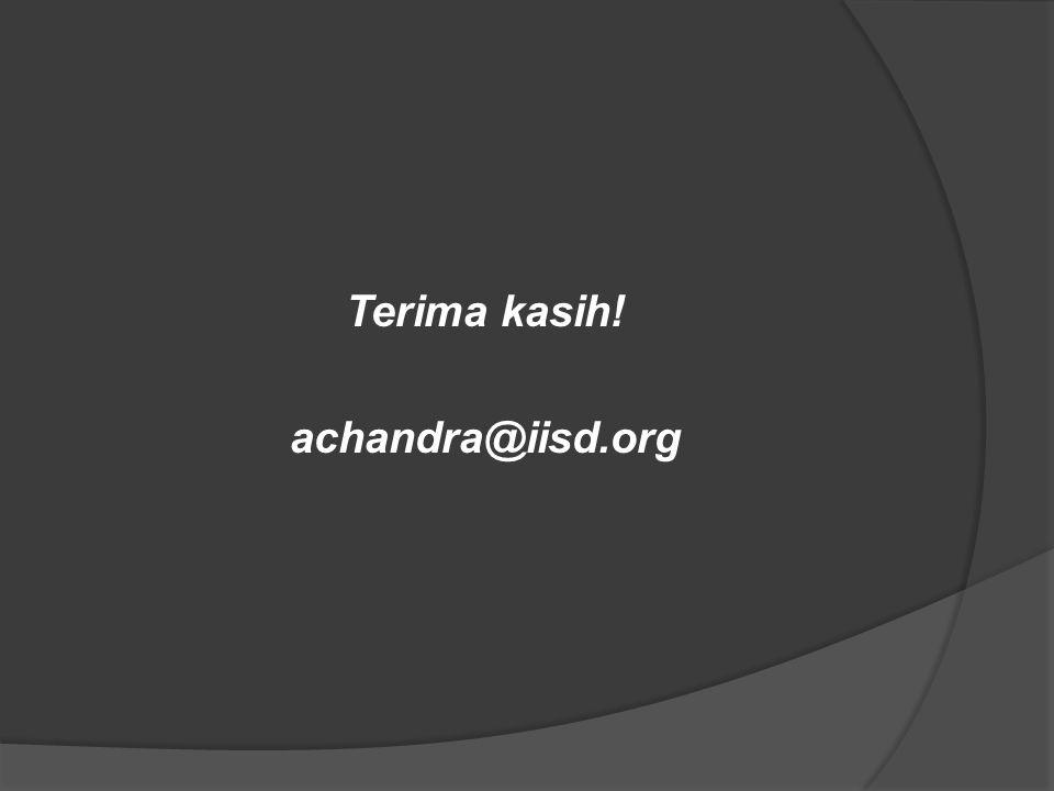Terima kasih! achandra@iisd.org