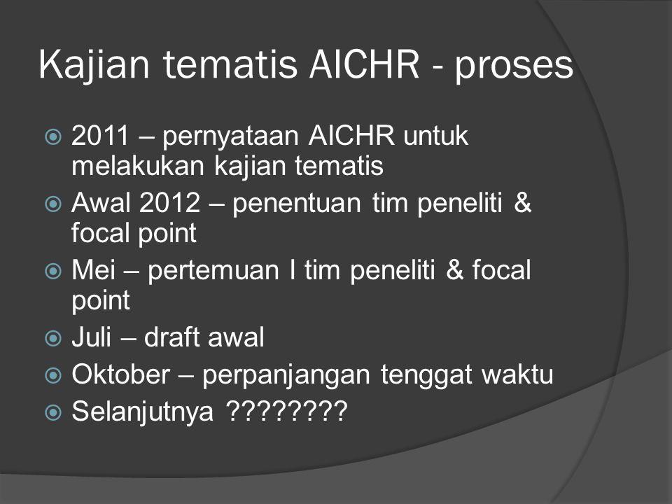 Kajian tematis AICHR - proses  2011 – pernyataan AICHR untuk melakukan kajian tematis  Awal 2012 – penentuan tim peneliti & focal point  Mei – pertemuan I tim peneliti & focal point  Juli – draft awal  Oktober – perpanjangan tenggat waktu  Selanjutnya ????????