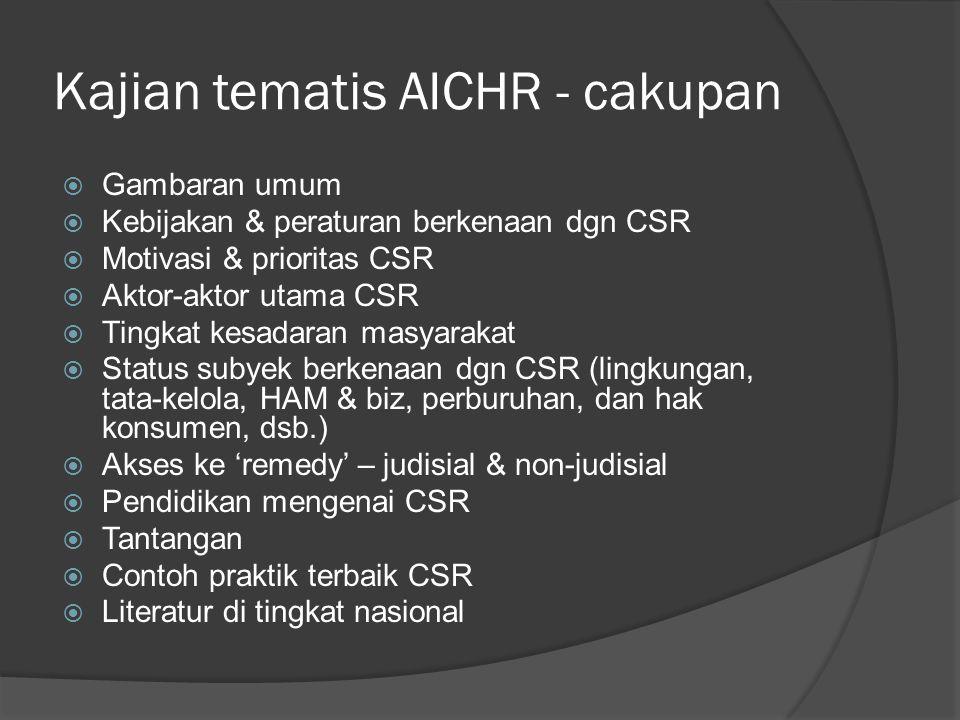 Kajian AICHR – konteks RI (1)  Juli – Kemlu organisir pertemuan dengan pemangku kepentingan  Konteks umum:  CSR masih dilihat dalam konteks 'pembangunan komunitas' tidak dgn pendekatan berbasis HAM  CSR sebagai sebuah 'kewajiban'  Layak diapresiasi, tetapi cakupan CSR yang diadopsi oleh bisnis patut dipertanyakan