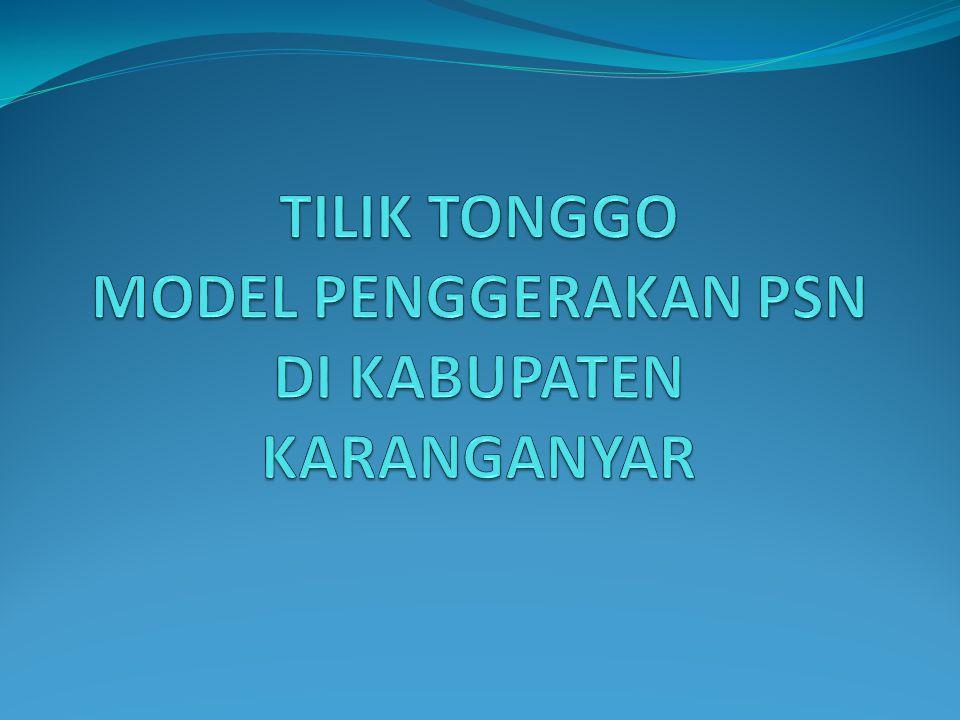 Tilik Tonggo Model gerakan PSN yang terstruktural, Menyeluruh, Serentak, Rutin danberkesinambungan dengan lingkup kegiatan ditingkat RT/Dawis dan dilaksanakan berdasarkan kesepakatan anggota RT / Dawis untuk pengendalian Penyakit Demam Berdarah Dengue