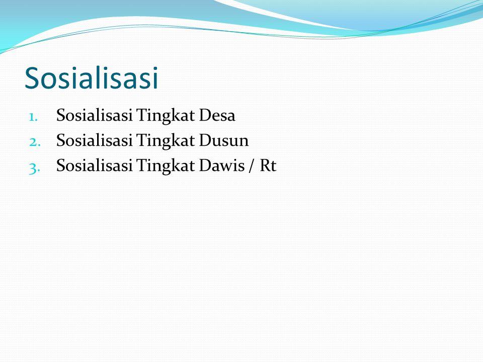 Sosialisasi 1. Sosialisasi Tingkat Desa 2. Sosialisasi Tingkat Dusun 3. Sosialisasi Tingkat Dawis / Rt