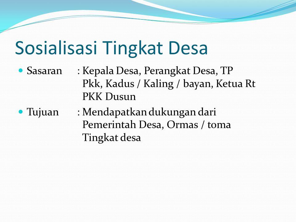 Sosialisasi Tingkat Desa Sasaran : Kepala Desa, Perangkat Desa, TP Pkk, Kadus / Kaling / bayan, Ketua Rt PKK Dusun Tujuan : Mendapatkan dukungan dari