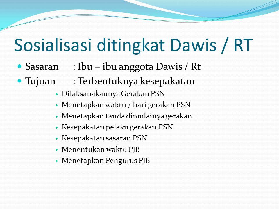Sosialisasi ditingkat Dawis / RT Sasaran: Ibu – ibu anggota Dawis / Rt Tujuan: Terbentuknya kesepakatan Dilaksanakannya Gerakan PSN Menetapkan waktu /