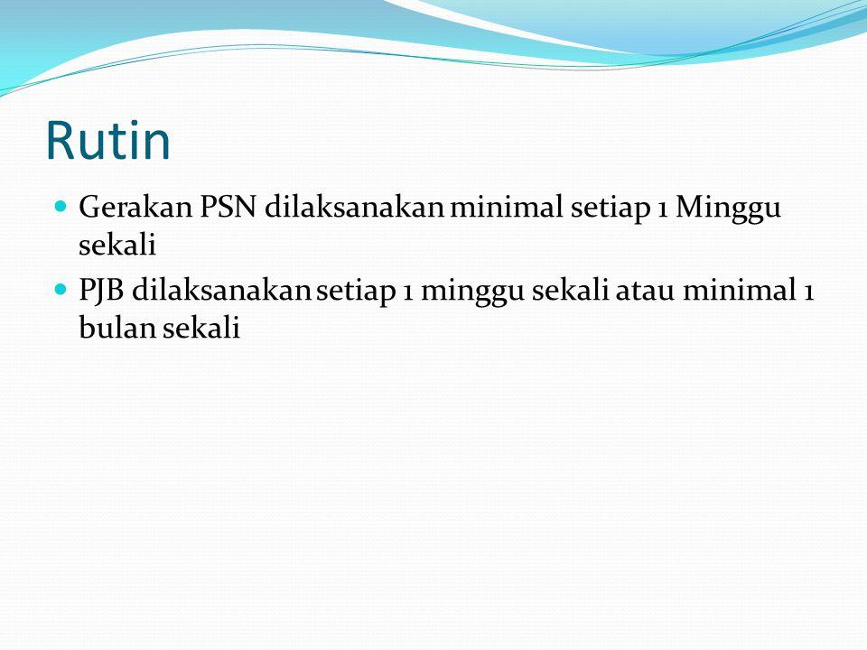 Rutin Gerakan PSN dilaksanakan minimal setiap 1 Minggu sekali PJB dilaksanakan setiap 1 minggu sekali atau minimal 1 bulan sekali