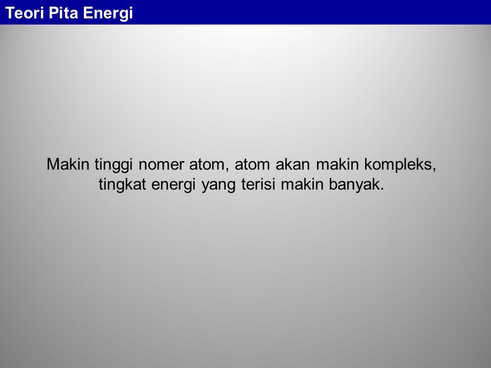 Makin tinggi nomer atom, atom akan makin kompleks, tingkat energi yang terisi makin banyak. Teori Pita Energi