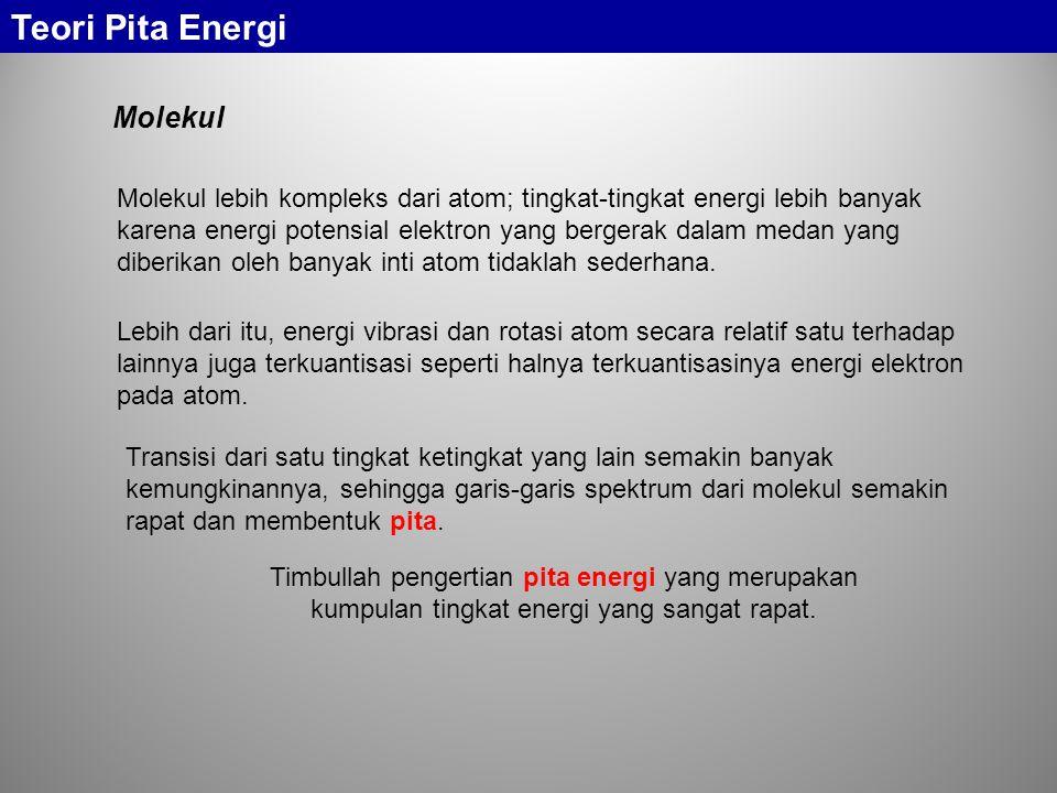 Molekul lebih kompleks dari atom; tingkat-tingkat energi lebih banyak karena energi potensial elektron yang bergerak dalam medan yang diberikan oleh banyak inti atom tidaklah sederhana.
