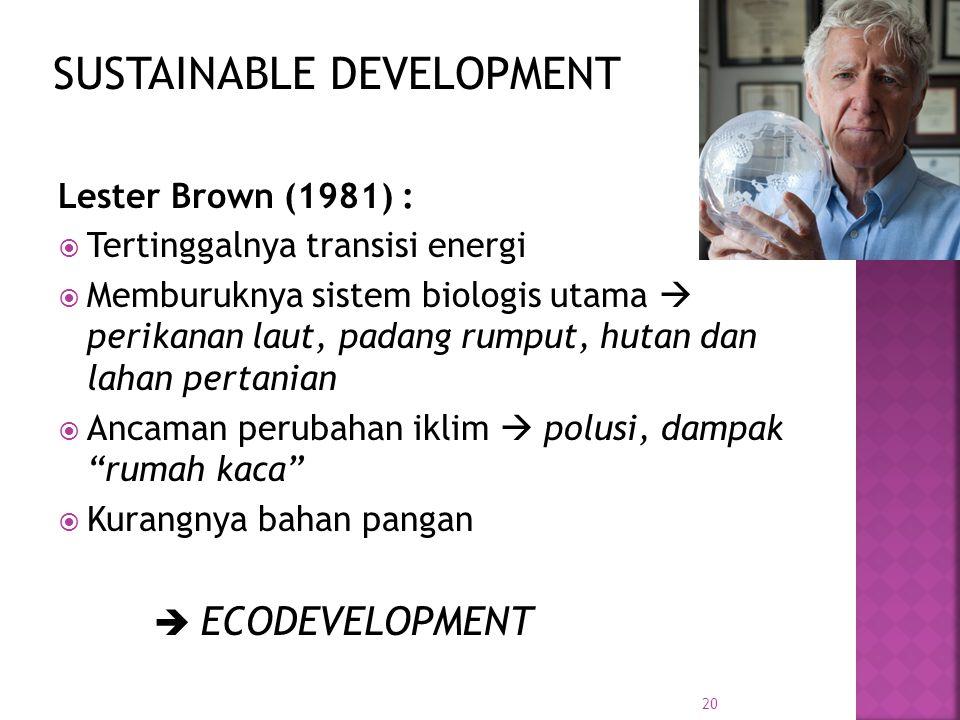 20 Lester Brown (1981) :  Tertinggalnya transisi energi  Memburuknya sistem biologis utama  perikanan laut, padang rumput, hutan dan lahan pertanian  Ancaman perubahan iklim  polusi, dampak rumah kaca  Kurangnya bahan pangan  ECODEVELOPMENT