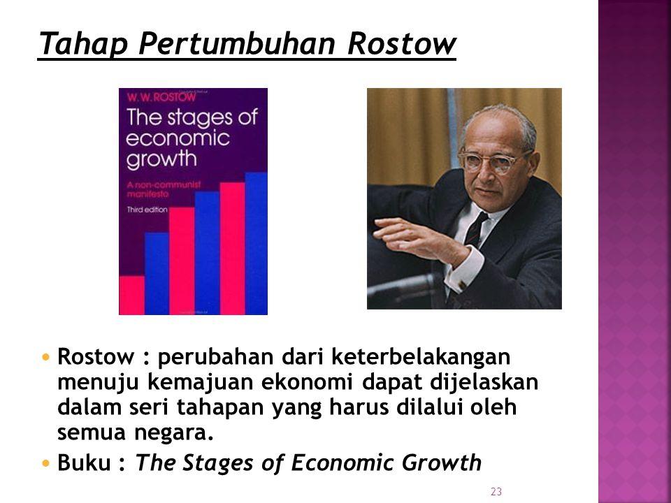 23 Rostow : perubahan dari keterbelakangan menuju kemajuan ekonomi dapat dijelaskan dalam seri tahapan yang harus dilalui oleh semua negara.