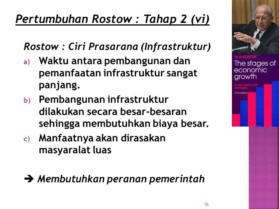 36 Rostow : Ciri Prasarana (Infrastruktur) a) Waktu antara pembangunan dan pemanfaatan infrastruktur sangat panjang.
