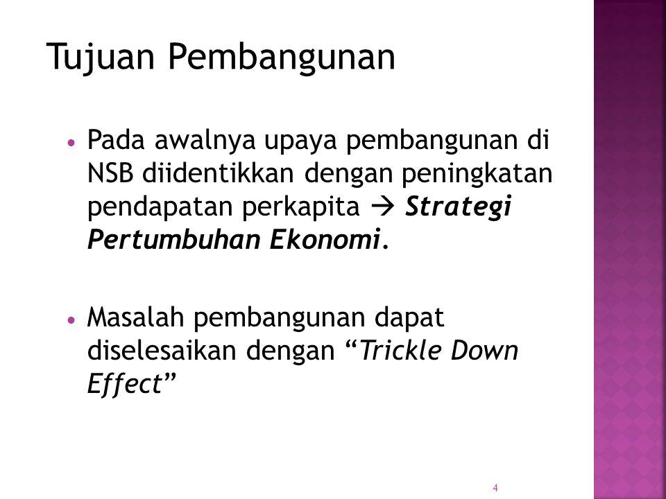 4 PPada awalnya upaya pembangunan di NSB diidentikkan dengan peningkatan pendapatan perkapita  Strategi Pertumbuhan Ekonomi.