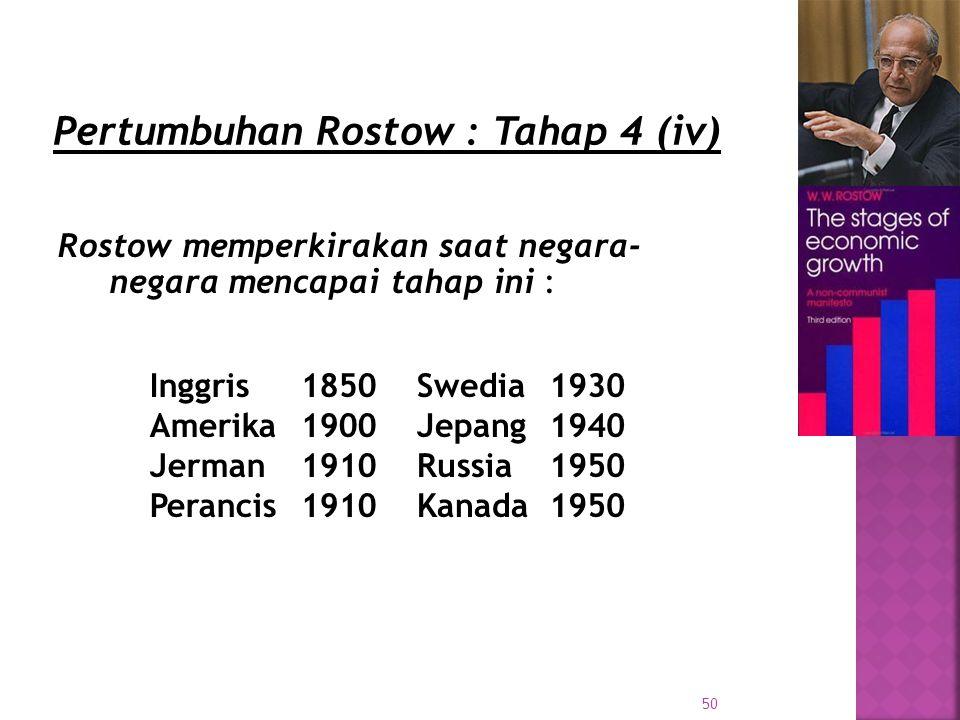 50 Rostow memperkirakan saat negara- negara mencapai tahap ini : Inggris Amerika Jerman Perancis 1850 1900 1910 Swedia Jepang Russia Kanada 1930 1940 1950