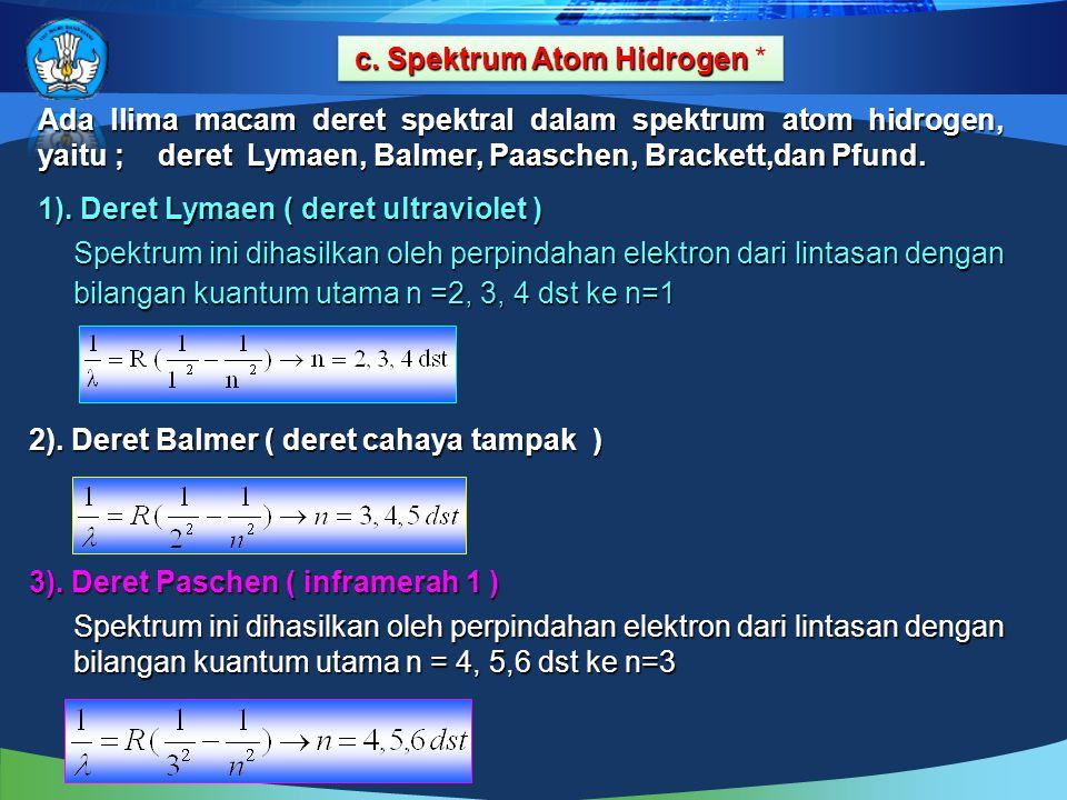 c. Spektrum Atom Hidrogen c. Spektrum Atom Hidrogen * cccc.... S S S S pppp eeee kkkk tttt rrrr uuuu mmmm A A A A tttt oooo mmmm H H H H iiii dddd rrr