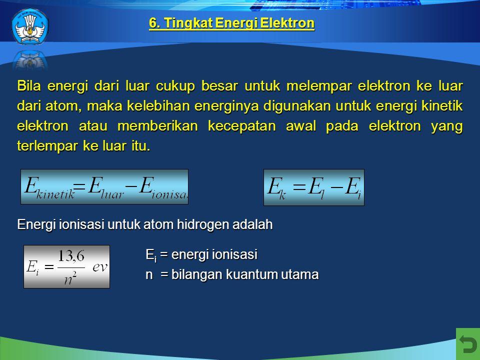 Energi total elektron pada lintasan stasioner yang bersesuaian dengan bilangan kuantum utama n disebut tingkat energi. Tingkat energi terendah, yaitu