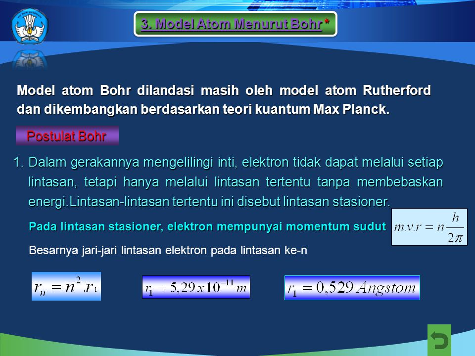 Model atom Bohr dilandasi masih oleh model atom Rutherford dan dikembangkan berdasarkan teori kuantum Max Planck.