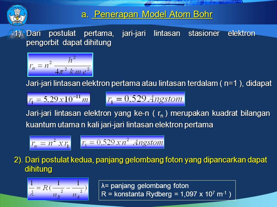 1).Dari postulat pertama, jari-jari lintasan stasioner elektron pengorbit dapat dihitung 1).Dari postulat pertama, jari-jari lintasan stasioner elektron pengorbit dapat dihitung Jari-jari lintasan elektron pertama atau lintasan terdalam ( n=1 ), didapat 2).