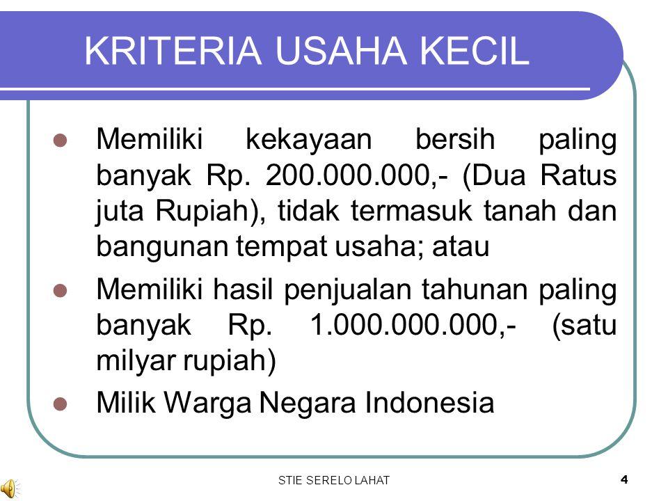3 PENGERTIAN Usaha kecil adalah kegiatan ekonomi rakyat yang bersekala kecil dan memenuhi kriteria kekayaan bersih dan hasil penjualan tahunan serta k