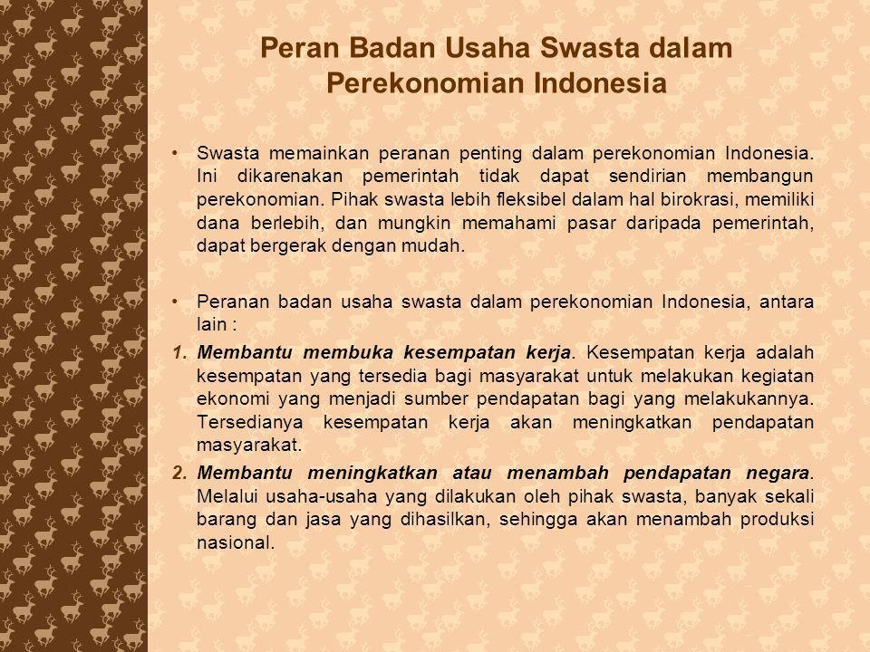 Peran Badan Usaha Swasta dalam Perekonomian Indonesia Swasta memainkan peranan penting dalam perekonomian Indonesia. Ini dikarenakan pemerintah tidak