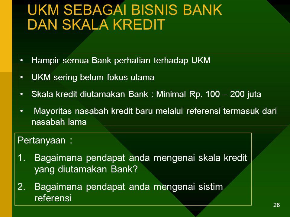 25 PERSYARATAN KREDIT BANK DAN KEADAAN DI USAHA KECIL Pertanyaan : Apakah syarat -syarat dasar Bank rumit ? Apakah usaha kecil harus berbadan hukum un