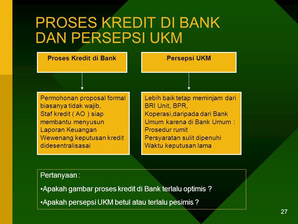 26 UKM SEBAGAI BISNIS BANK DAN SKALA KREDIT Hampir semua Bank perhatian terhadap UKM UKM sering belum fokus utama Skala kredit diutamakan Bank : Minim