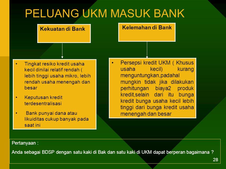 27 PROSES KREDIT DI BANK DAN PERSEPSI UKM Pertanyaan : Apakah gambar proses kredit di Bank terlalu optimis ? Apakah persepsi UKM betul atau terlalu pe