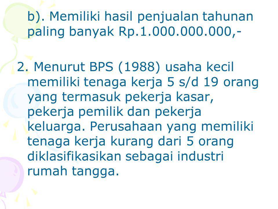 b).Memiliki hasil penjualan tahunan paling banyak Rp.1.000.000.000,- 2.