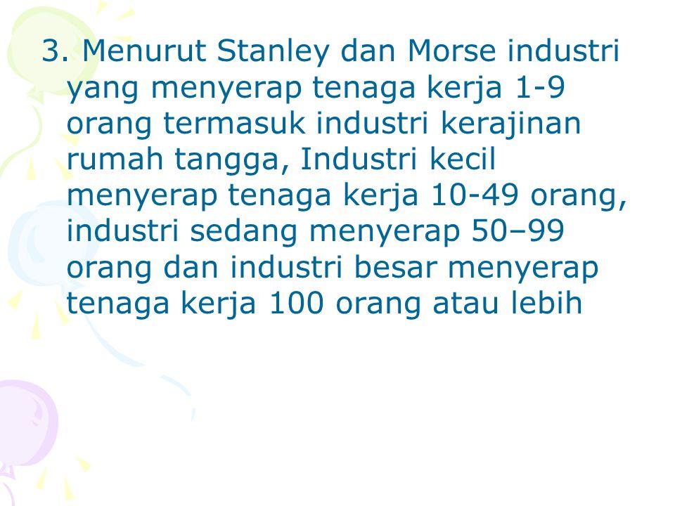 3. Menurut Stanley dan Morse industri yang menyerap tenaga kerja 1-9 orang termasuk industri kerajinan rumah tangga, Industri kecil menyerap tenaga ke