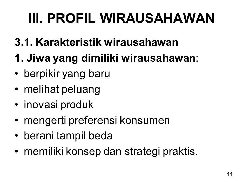 III. PROFIL WIRAUSAHAWAN 3.1. Karakteristik wirausahawan 1. Jiwa yang dimiliki wirausahawan: berpikir yang baru melihat peluang inovasi produk mengert