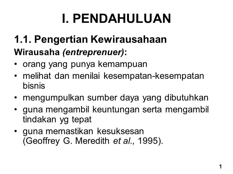 I. PENDAHULUAN 1.1. Pengertian Kewirausahaan Wirausaha (entreprenuer): orang yang punya kemampuan melihat dan menilai kesempatan-kesempatan bisnis men