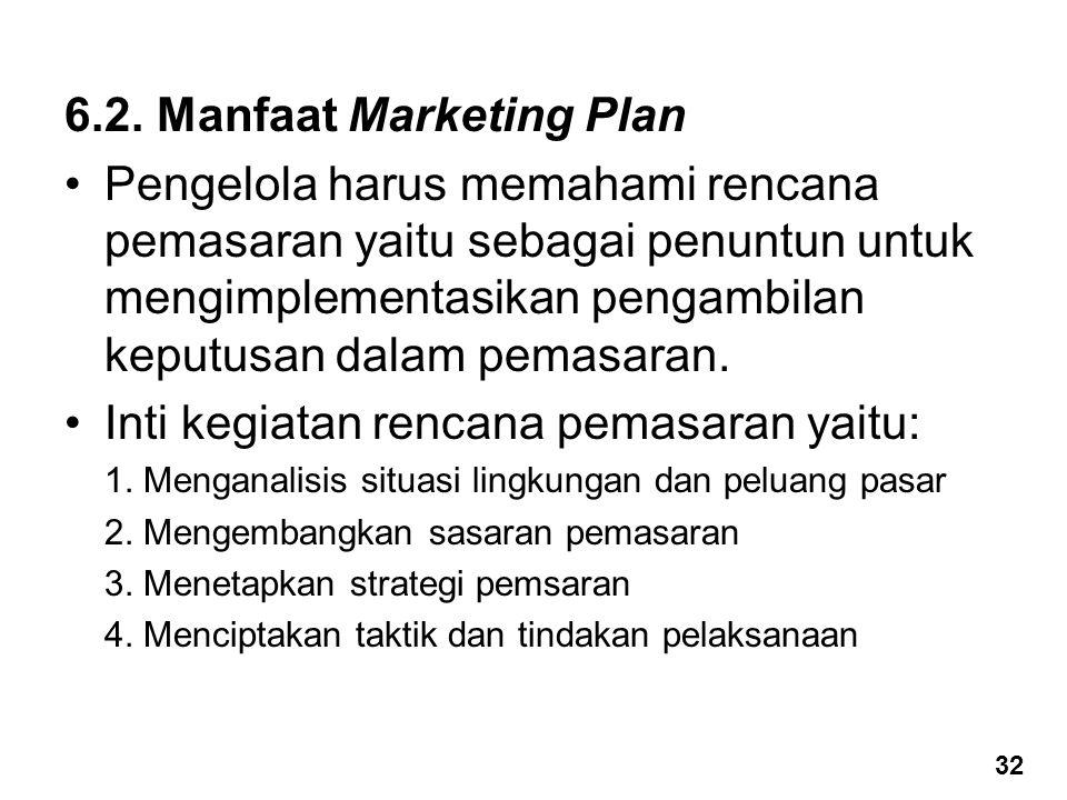 6.2. Manfaat Marketing Plan Pengelola harus memahami rencana pemasaran yaitu sebagai penuntun untuk mengimplementasikan pengambilan keputusan dalam pe