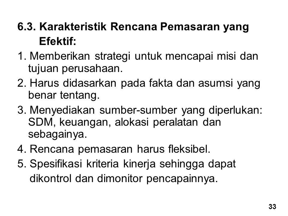 6.3.Karakteristik Rencana Pemasaran yang Efektif: 1.