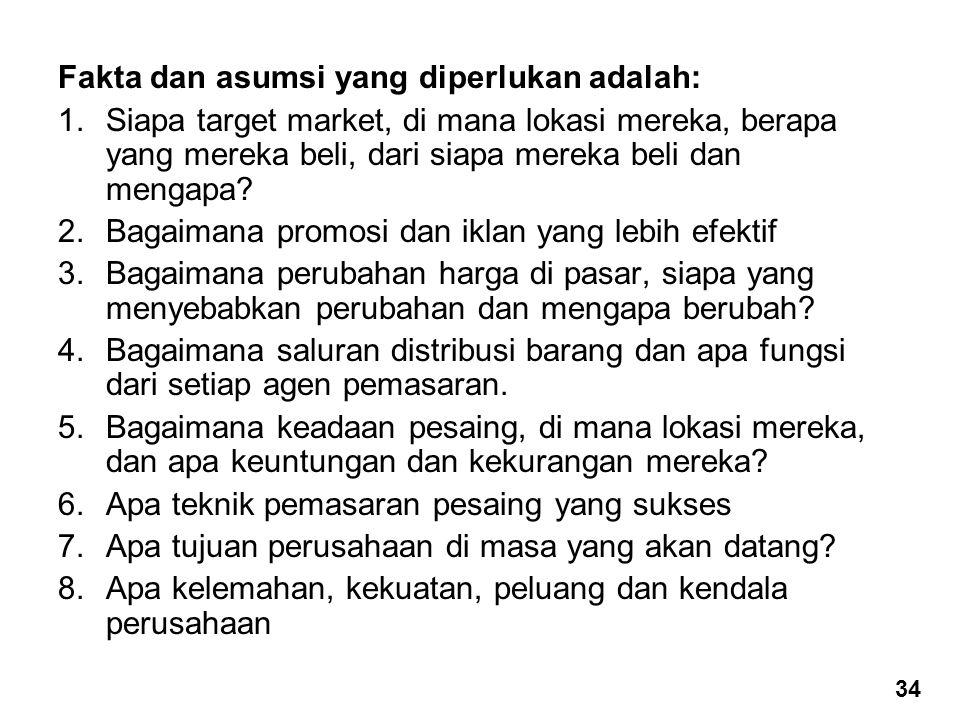 Fakta dan asumsi yang diperlukan adalah: 1.Siapa target market, di mana lokasi mereka, berapa yang mereka beli, dari siapa mereka beli dan mengapa? 2.