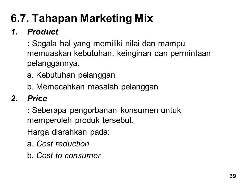 6.7. Tahapan Marketing Mix 1.Product : Segala hal yang memiliki nilai dan mampu memuaskan kebutuhan, keinginan dan permintaan pelanggannya. a. Kebutuh