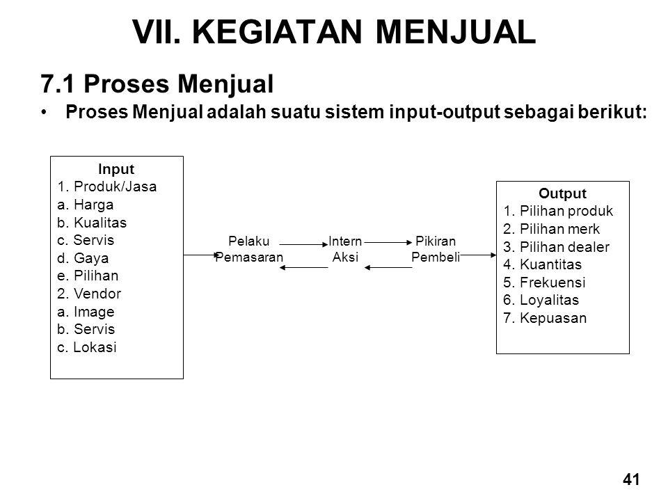 VII. KEGIATAN MENJUAL 7.1 Proses Menjual Proses Menjual adalah suatu sistem input-output sebagai berikut: Input 1. Produk/Jasa a. Harga b. Kualitas c.
